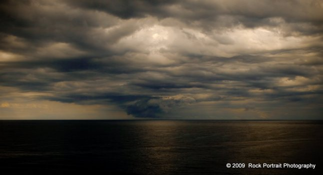 Storm brewing off Bass Strait at sunset